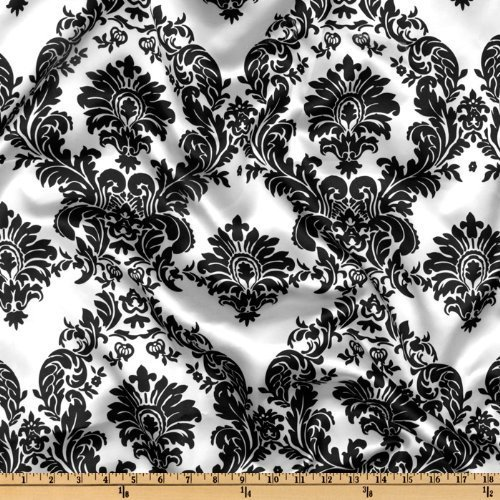 Damask Print, Charmeuse Satin Fabric By The Yard, Black On White.