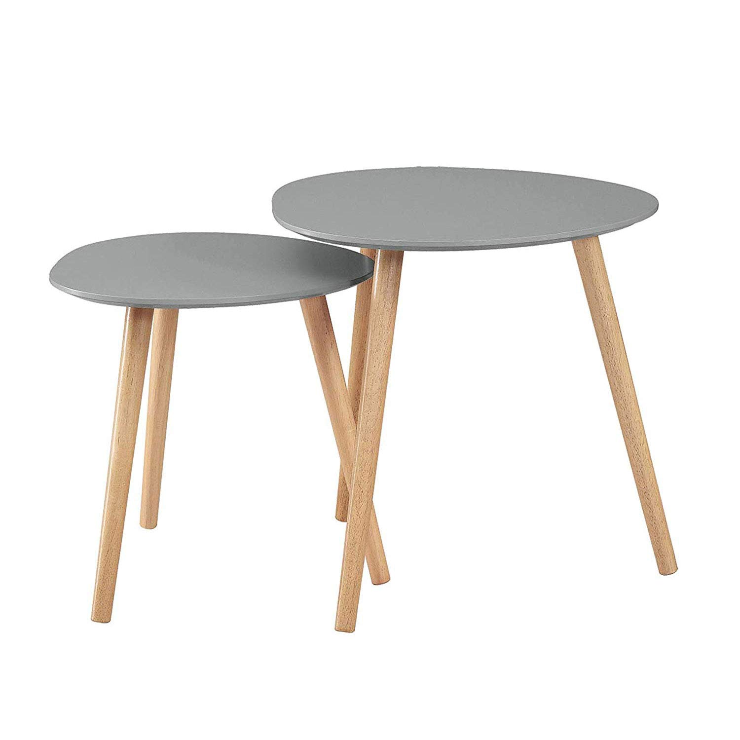 Convenience Concepts 203542GY Oslo Nesting End Tables, Gray/Light Oak, by Convenience Concepts