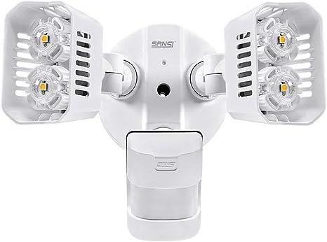 Sansi Foco LED con Sensor de Movimiento 30w 3400lm 5000K Iluminaci/ón de Seguridad con PIR Detector Luz Exterior Pared Jardin Rect/ángulo Negro
