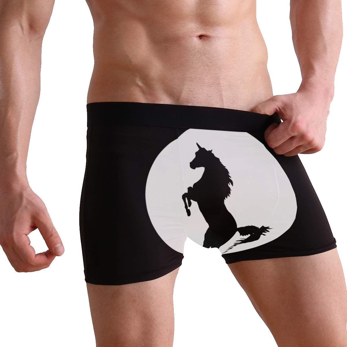 SUABO Men Boxer Briefs Polyester Underwear Men 2 Pack Boxer Briefs for Valentines Day with Horse Pattern