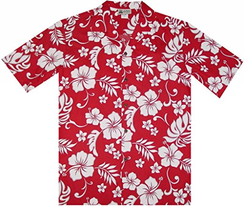 Aloha Republic 2XL Red Classic Vintage Pareo Floral Flowers Men's Hawaiian Shirt (Flower Red Shirts)