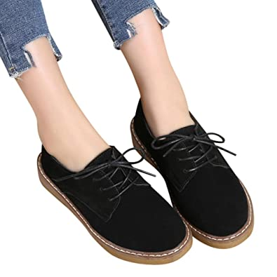 Fheaven (TM) Women Sneakers Loafers Shoes Suede Leather Lace Up Boat Shoe Round Toe