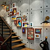 ZGP Home@Wall photo frame Vintage Old Industrial Wind Staircase Photo Wall Creative Corridor Wall Photo Frame Photo Wall Bar Decoration (Color : B, Size : 188144CM)