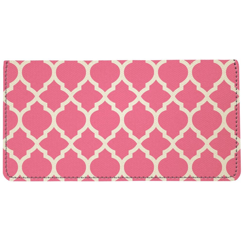 Snaptotes Pink Moroccan Personalized Monogram Checkbook Cover