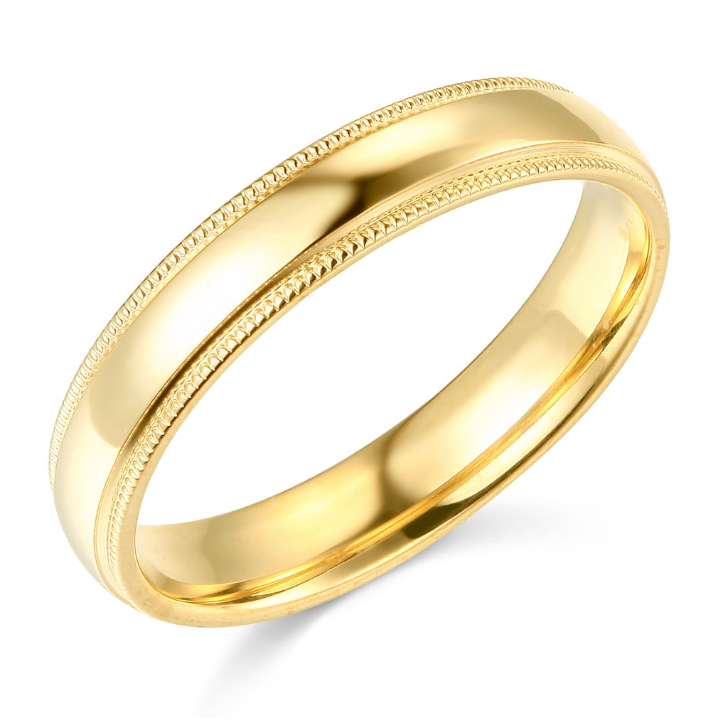 14k Yellow Gold 4mm COMFORT FIT Plain Milgrain Wedding Band - Size 8.5