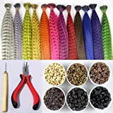 Feather Hair Extension Kit with 35 Synthetic Feathers 100 Beads One Plier and Hook