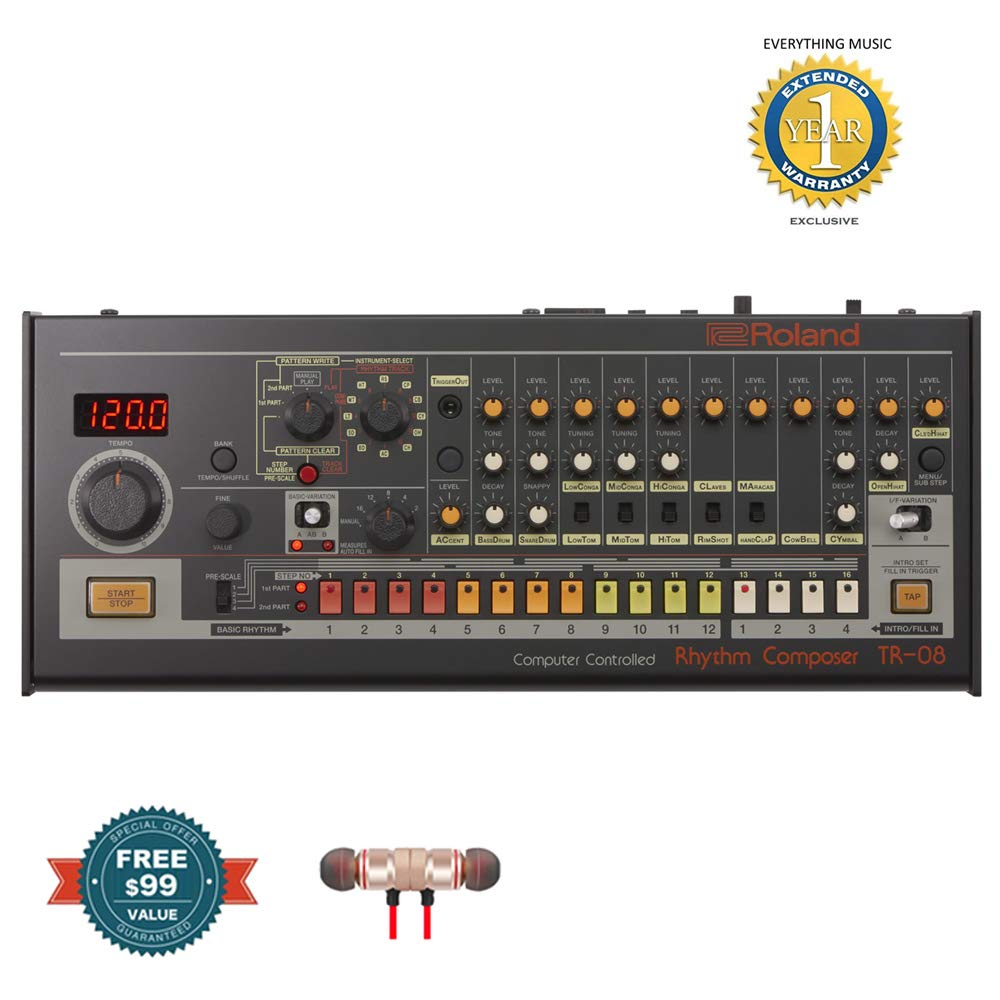 Roland TR-08 Boutique Rhythm Composer includes Free Wireless Earbuds - Stereo Bluetooth In-ear and 1 Year Everything Music Extended Warranty by COR