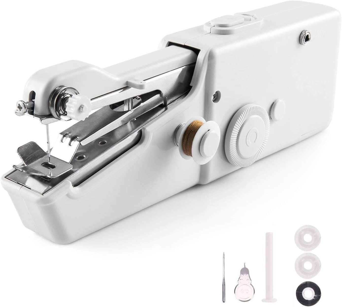 Clothes Home Travel Use White Household Quick Repairing Stitch Tool Suitable for Leather Kids Adults VOLCANOES CLUB Handheld Sewing Machine Curtains Mini Handy Cordless Electric Sewing Machine Portable for Beginners