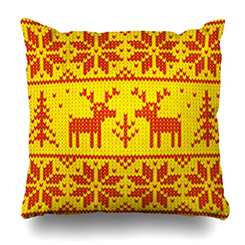 NOWCustom Throw Pillow Cover Detail Jumper Red Yellow Christmas Ornamental Deers Shine Vintage Pattern Reindeer Sweater Abstract Zippered Pillowcase Square Size 18 x 18 Inches Home Decor Pillow Case