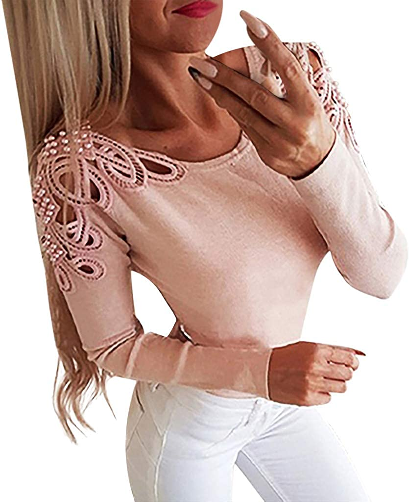Holzkary Women Long Sleeve O Neck Hollow Out T-Shirt Casual Slim-fit Pure Color Tops Blouse