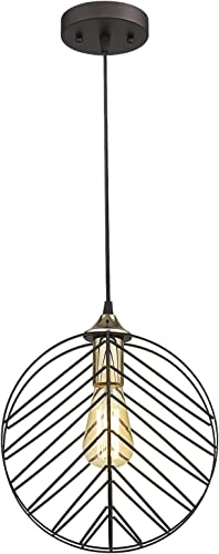 Emliviar Cage Pendant Light, Modern Hanging Light in Oil Rubbed Bronze Finish, TE1994-M1L ORB