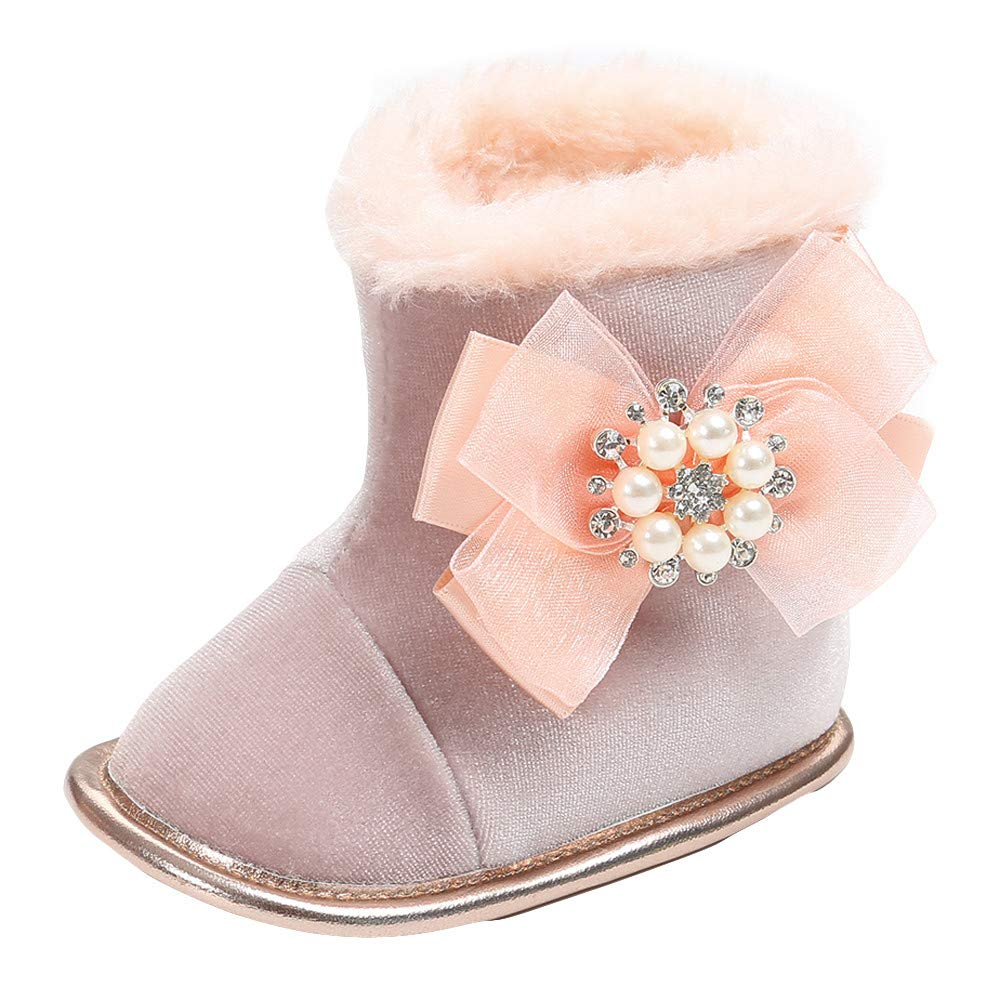 GBSELL Newborn Infant Baby Girl Winter Shoes Warm Fur Diamond Bowknot Flower Snow Boots (Pink, 12~18 Month)