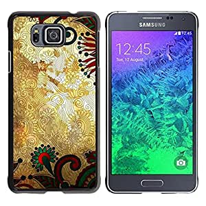 iKiki Tech / Estuche rígido - Pattern Floral Gold Rustic Wallpaper - Samsung GALAXY ALPHA G850