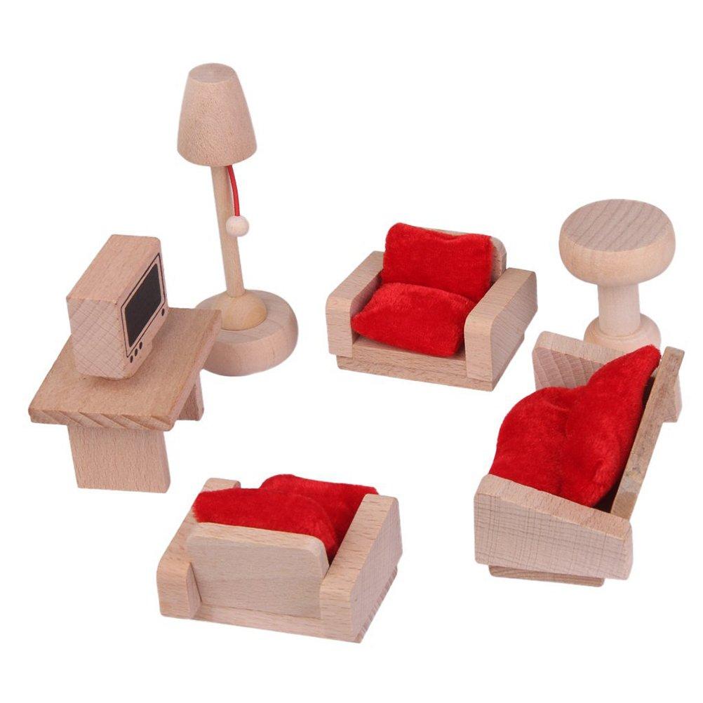 UEETEK Wooden Living Room Set Mininature Dollhouse Furniture Toy for Kids Children