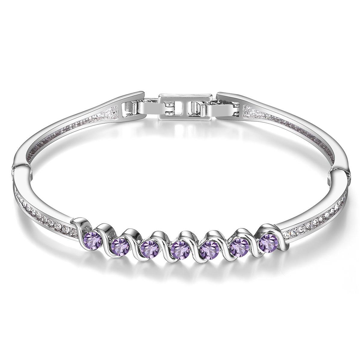 Menton Ezil 925 Silver Plated Swarovski Bracelets with Purple Amethyst Round Shape Stones Charming Jewelry for Wedding Gift by Menton Ezil