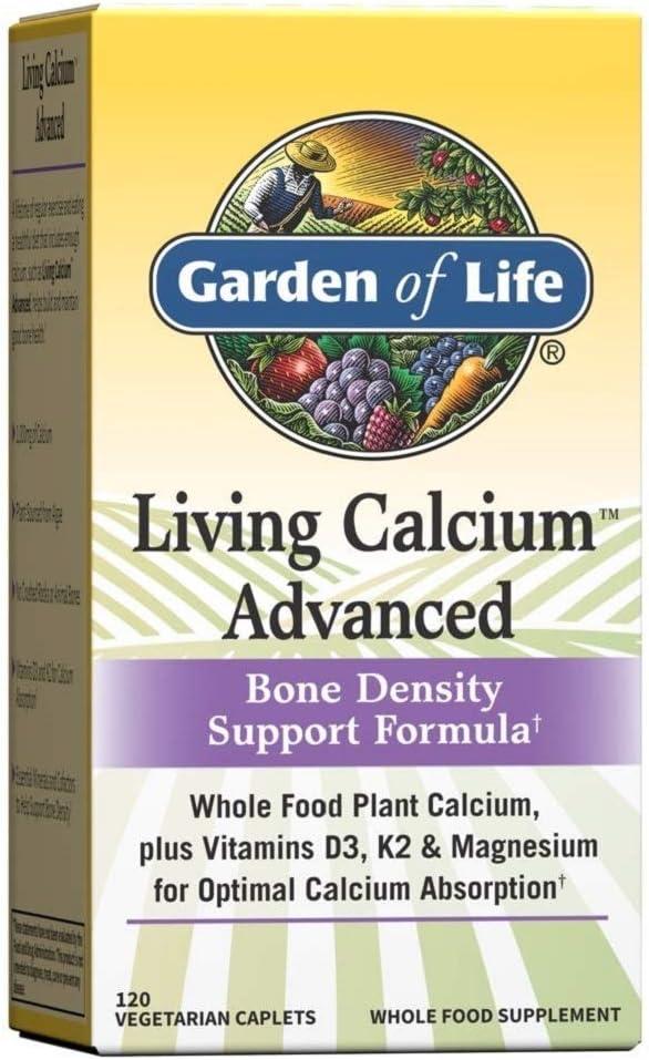 Garden of Life Calcium Supplement - Living Calcium Advanced Bone Density Support Formula, 1,000mg Whole Food Plant Calcium Plus Vitamins D3, K1 and Magnesium for Absorption, 120 Vegetarian Caplets