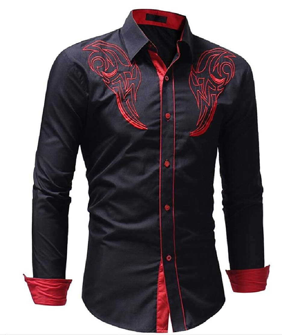 CYJ-shiba Mens Embroidery Regular Fit Long Sleeve Button Down Casual Shirt