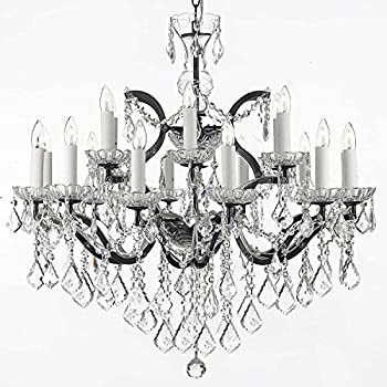 "Swarovski Crystal Trimmed Chandelier! 19th C. Rococo Iron & Crystal Chandelier Lighting H 28"" x W 30"""