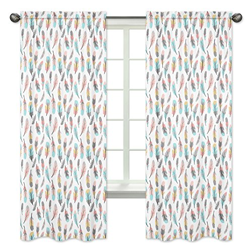 Bedroom Decor Window Treatment Panels for Feather Collection - Set of 2 from Sweet Jojo Designs