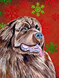 Caroline's Treasures LH9309CHF Newfoundland Red and Green Snowflakes Holiday Christmas Canvas House Flag