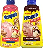 Nesquik Chocolate and Strawberry Syrup, 22oz (Pack of 2 bottles)