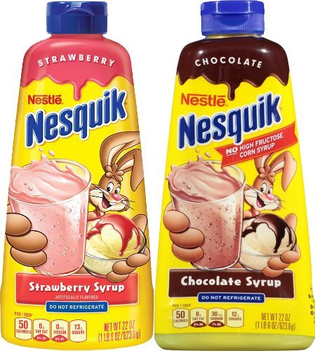Nesquik Chocolate and Strawberry Syrup, 22oz (Pack of 2 bottles) (Nestle Strawberry Syrup)