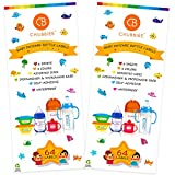 Baby Bottle Labels for Daycare, Waterproof Write-On Name Labels, Assorted Sizes & Colors, Pack of 128
