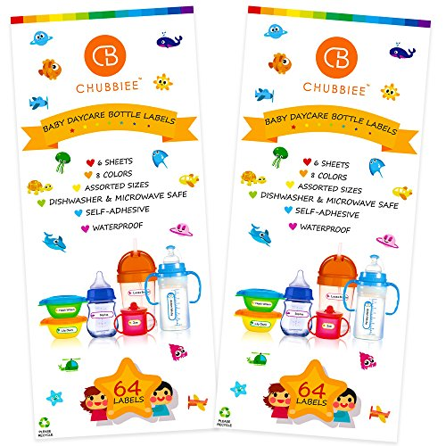Baby Bottle Labels for Daycare, Waterproof Write-On Name Labels, Assorted Sizes & Colors, Pack of 128 ()