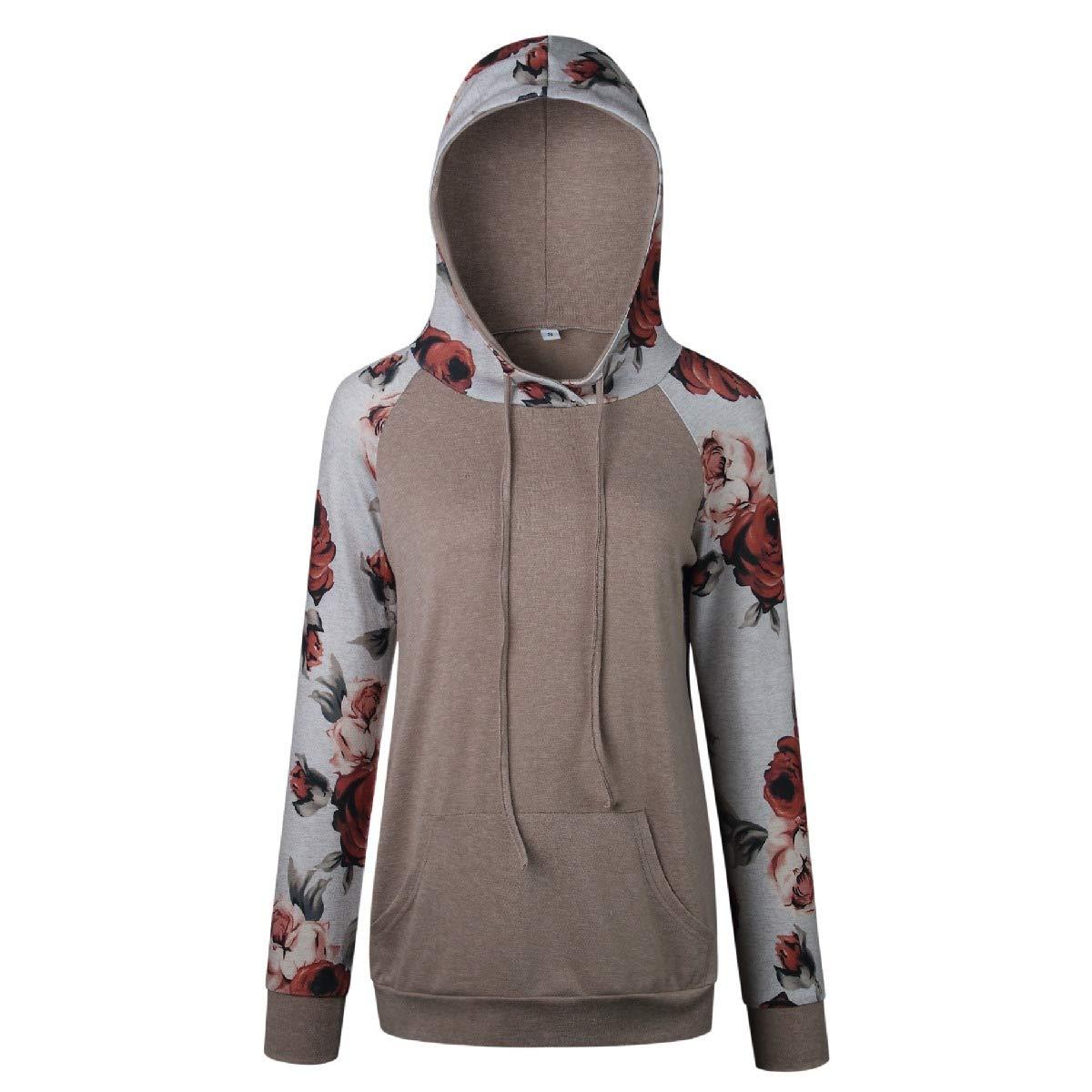 Comaba Womens Loose Pockets Floral Printed Hoodie Pullover Top Sweatshirt