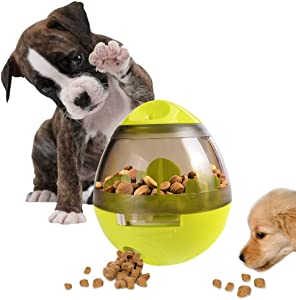 AIBOONDEE Automatic Pet Slow Feeder Treat Ball, Cats Dog Toy for Pet Increases IQ Interactive,Food Dispensing Ball Slow Feed Bowl Tumbler Design Ball for Puppy, Small Medium Cats, Dogs, Pets (Green)