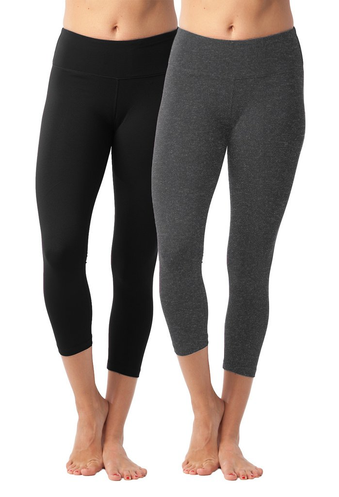 90 Degree By Reflex Yoga Capris - Yoga Capris for Women - Hidden Pocket - Black and Heather Charcoal 2 Pack - XS