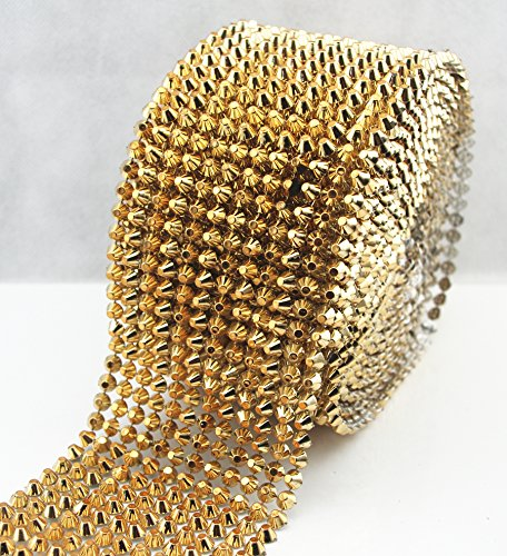 AEAOA 1 Yard Gold Sew Stitch On Spike Stud Cone Flat Back Punk Rock Trim Mesh Bead Craft (Gold Flat) by AEAOA