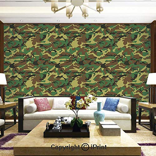 Lionpapa_mural Self-Adhesive Large Wallpaper Better Designs for Living Room,Woodland Camouflage Pattern Abstract Army Force Hiding in Jungle,Home Decor - 100x144 - Army Wallpaper Camo
