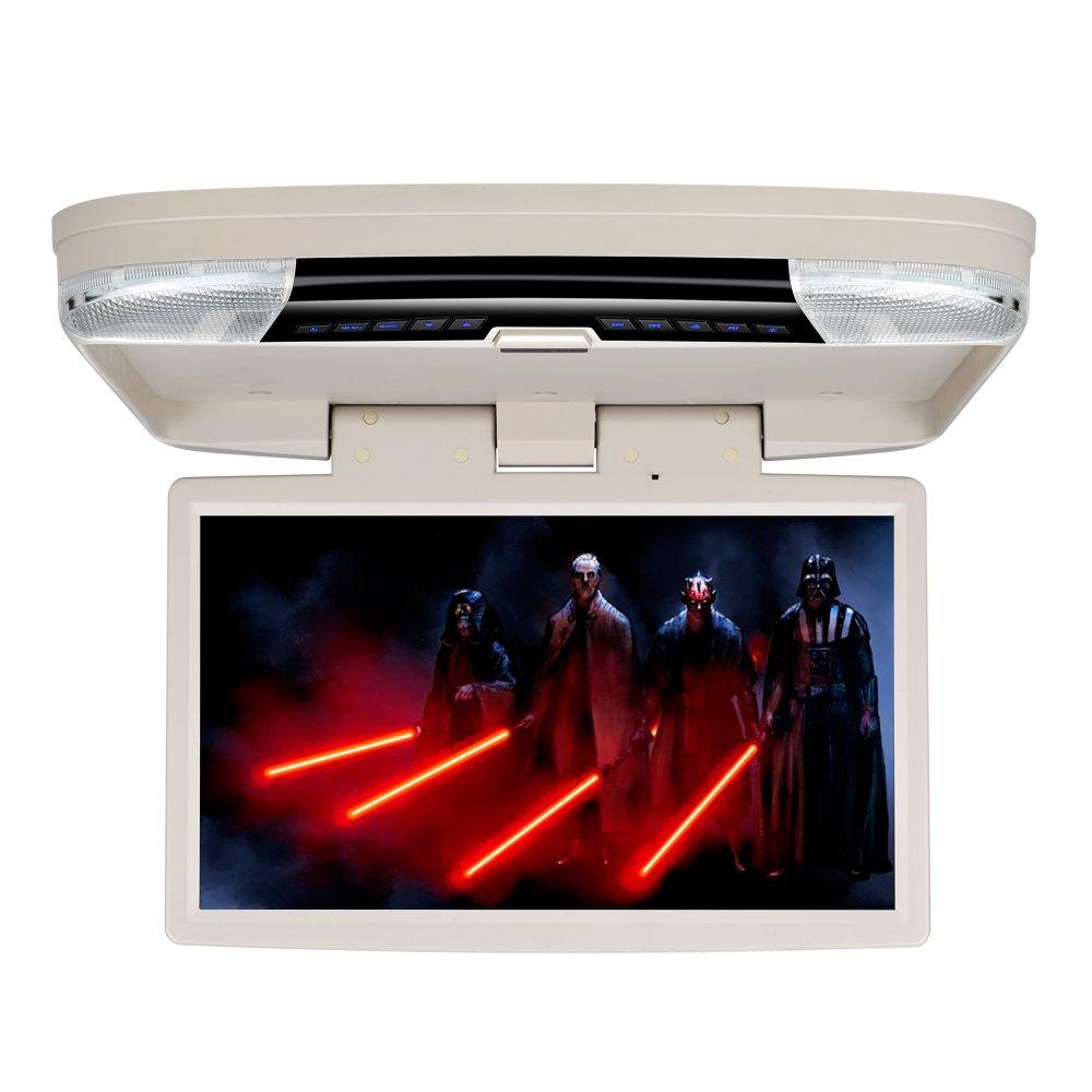 DDAUTO Flip Down Monitor DVD Player 15.6 inch Car Roof Mount Overhead DVD Player 1080P HD Screen , HDMI, USB, Games, Door LED, IR Transmitter, Beige