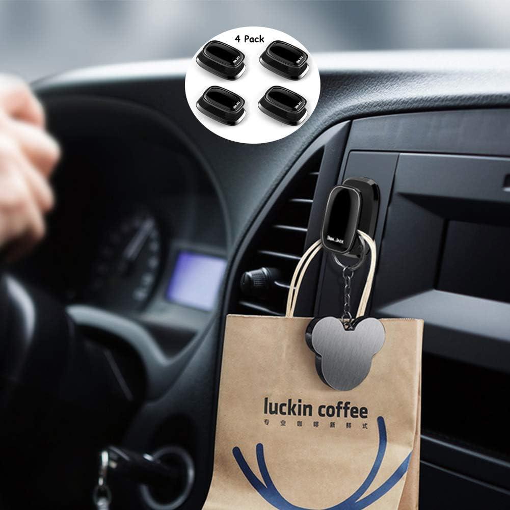 4 Pcs Portable Car Paste Hooks Hangers Car Vehicle Stealth Hook Stick on Dashboard Instrument Panel Storage for Purse Handbag and Universal Cellphone Finger Ring Holder Grip