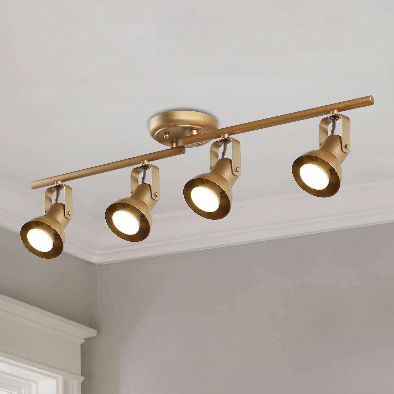 Ksana Gold Led Track Lighting Adjustable Modern Ceiling Spotlight 4 Lights Kitchen Track Lighting Amazon Com