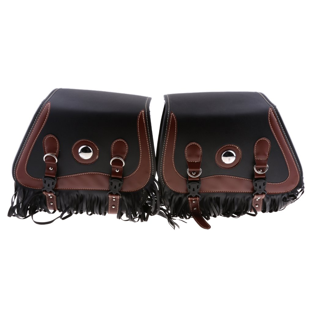 Baoblaze Retro Leather Motorcycle Tassels Saddlebags Rider Panniers Luggage Bags