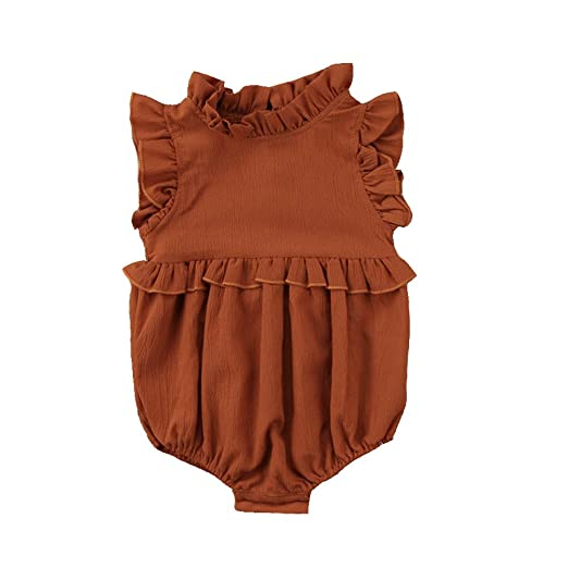 549c169a3636 Amazon.com  Weixinbuy Toddler Baby Girl Ruffled Collar Sleeveless Romper  Jumpsuit Clothes  Clothing