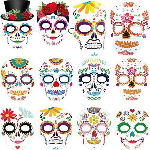 Day Of Dead Halloween Mask (Day The Dead Masks Dia de Los Muertos Sugar Skull Face Tatoo Masks Skeleton Halloween Face Masks Black and Bone Mexican for Boy Girls Sugar)