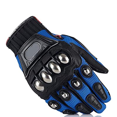 Steel Outdoor Reinforced Brass Knuckle Motorcycle Motorbike Powersports Racing Textile Safety Gloves (Blue, M): Automotive