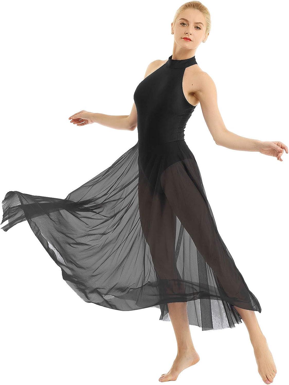 FYMNSI Women Lyrical Dance Dress Modern Contemporary Dancewear Costume Shiny Sequins Ballroom Ballet Leotard Tank Bodysuit Mesh Split Tulle Maxi Long Overlay Dress