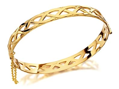 F.Hinds Womens Rolled Real Yellow Gold Celtic Weave Bangle Bracelet Jewellery Xb9ZR1Dyc