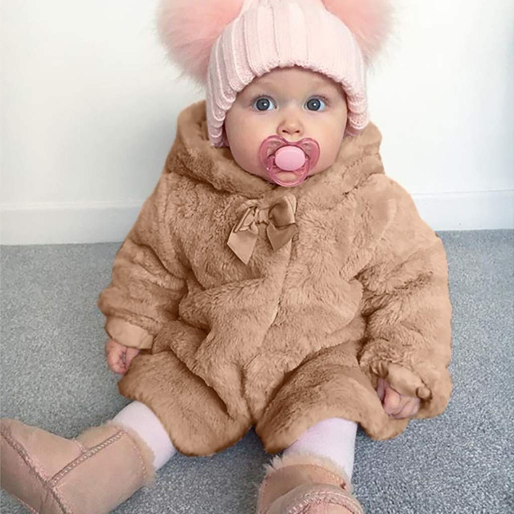Clothes for Baby Girl Christmas,Winter Warm Hooded Fur Fuzzy Coat Jacket Cute Cardigan Outerwear,Baby Coats