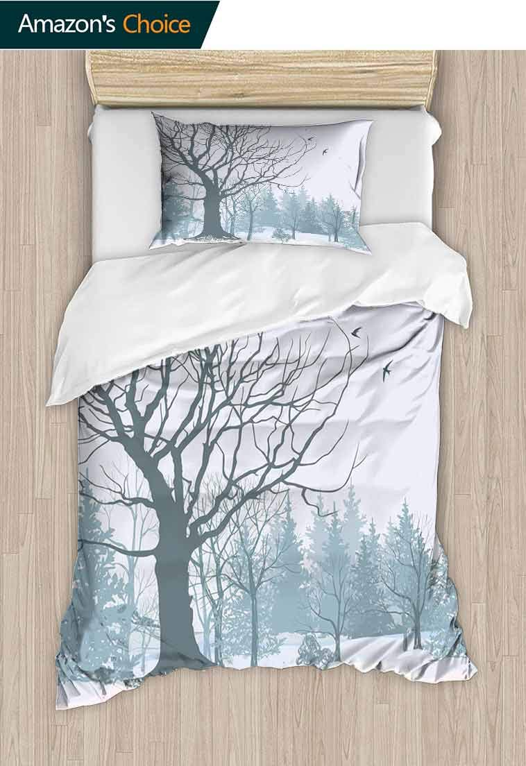 Winter DIY Duvet Cover and Pillowcase Set, Winter Season Theme A Tree Without Leaves in The Snowy Forest and Flying Birds, Reversible Coverlet, Bedspread, Gifts for Girls Women, 79 W x 90 L Inches