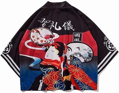 Kimonos Japoneses Sección Delgada Cárdigan Camisa De Manga Siete Cuartos Mujeres Hombres Abrigo Suelto Mujer Protector Solar Ropa-Etiqueta_Chica_Negro_M: Amazon.es: Ropa y accesorios