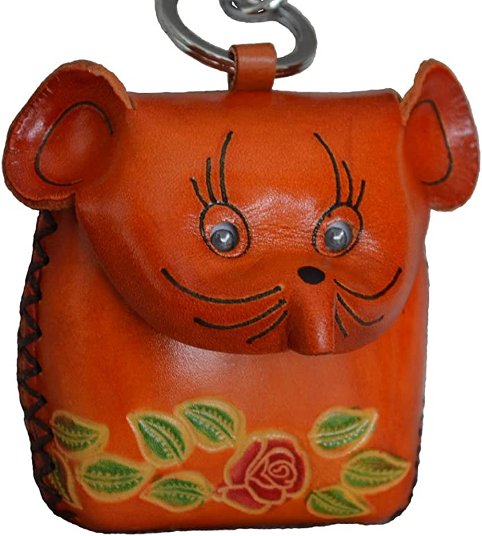 Rat Face Cover and Moving Eye Balls,Brown Genuine leather Coin Purse with wristlet Strap