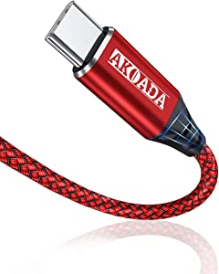 AkoaDa USB C to USB C 100W Cable 2 Pack (10ft+6.6ft), USB C Braided Rapid Charging Cable Compatible with MacBook Pro 2020/2019, iPad Pro 2020/2019, Samsung Galaxy S20 Note 20 and Type-C Laptops (Red)