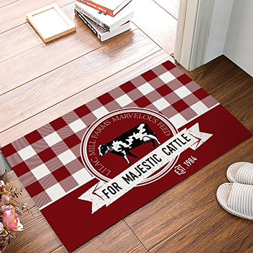 Modern Non Slip Watercolor Custom White Red Plaid Farm Cow Home Bathroom Bath Shower Bedroom Mat Toilet Floor Door Mat Rug Carpet Pad Doormat(23.6x15.7inch,40cmx60cm) by Cloud Dream