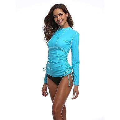 b23396374d5 Women's Long Sleeve Rash Guard Wetsuit Swimsuit Top UV Sun Protection (901  XXS, Blue