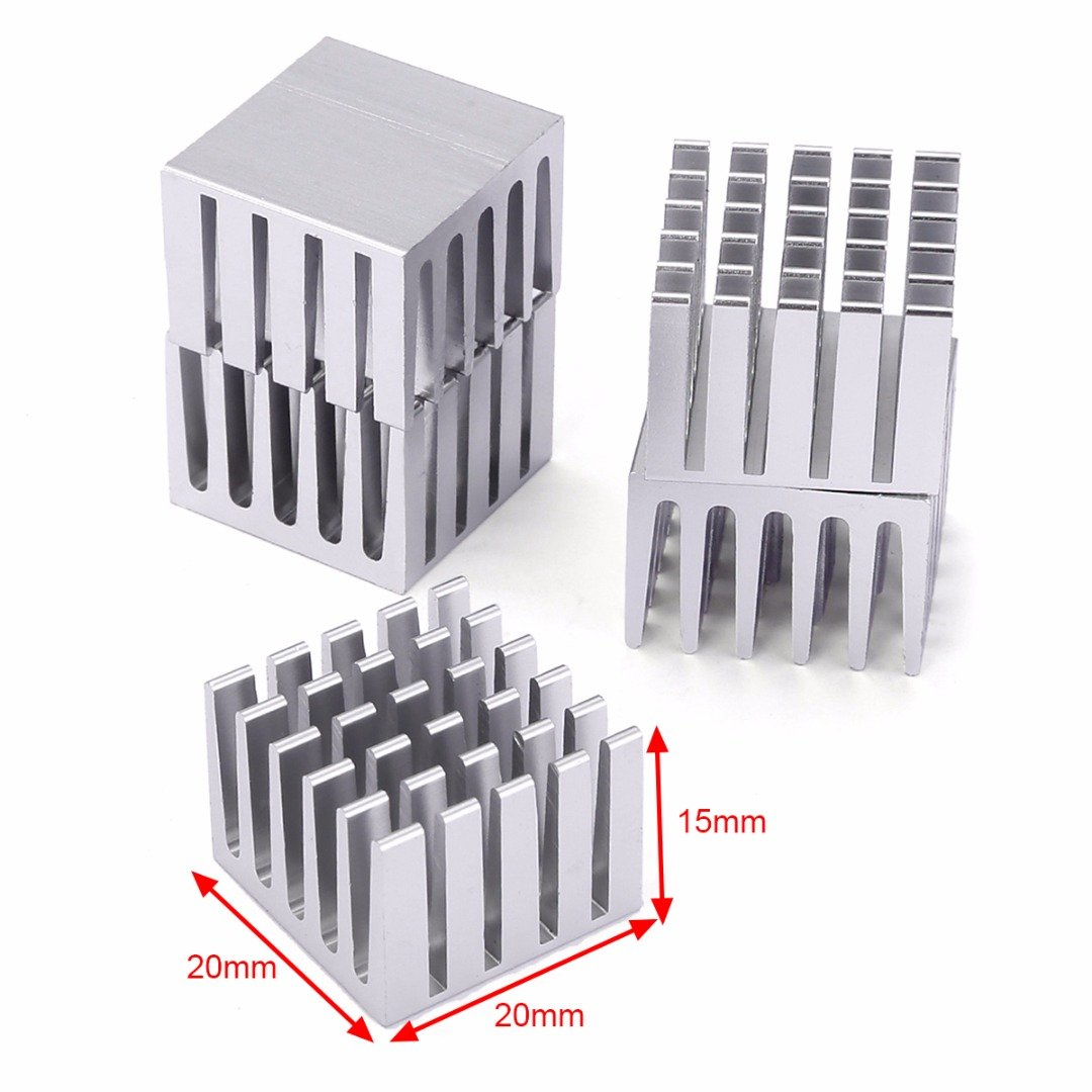 JIAIIO 5pcs CPU IC Chip Aluminum Heat Sink Extruded Cooler Heatsink with Good Heat Dissipation For Computers 20x20x15mm
